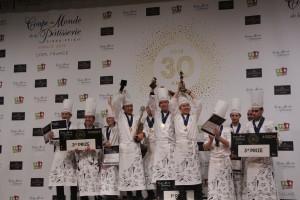 Le podium 30ème Coupe du Monde de Pâtisserie, Eurexpo, Lyon, 28 janvier 2018